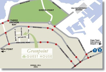 Cape Town Map Greenpoint Location Guest House